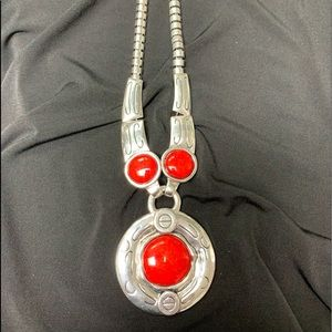 Large silver with red necklace